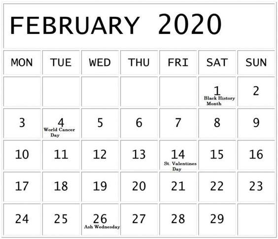 2020 February Calendar Print
