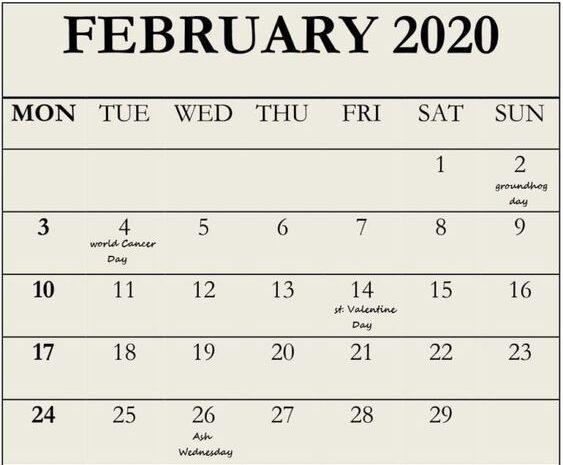 2020 February Calendar Excel Template