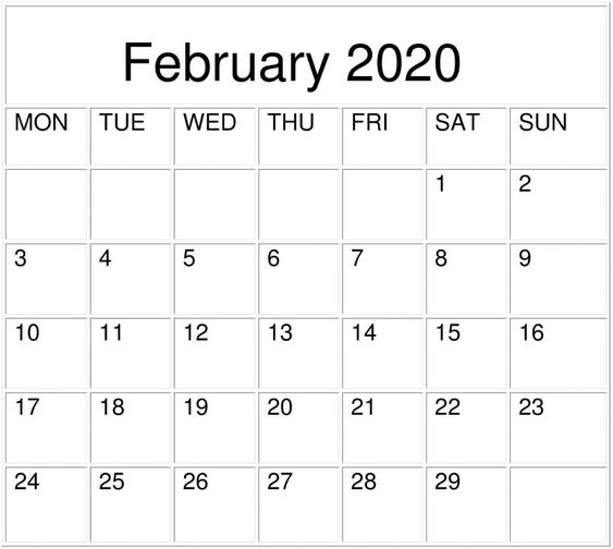 2020 February Calendar Template
