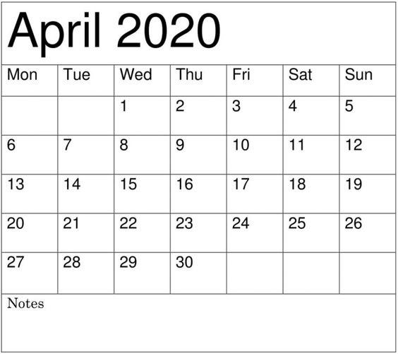 April 2020 Blank Calendar Free Download