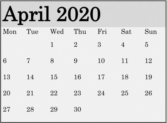 April 2020 Calendar Printable Floral