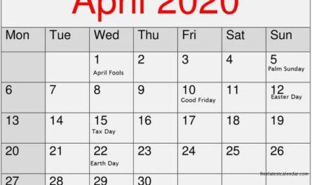 April 2020 Calendar Printable Template