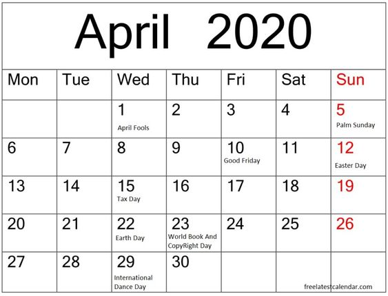 April 2020 Calendar With Holidays UK