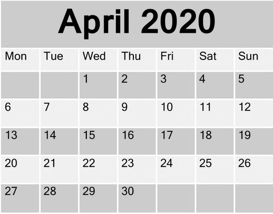 April 2020 Printable Calendar Monthly