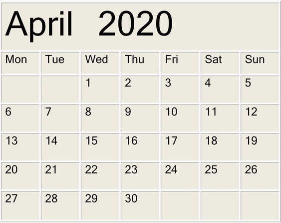 April 2020 Printable Calendar Print