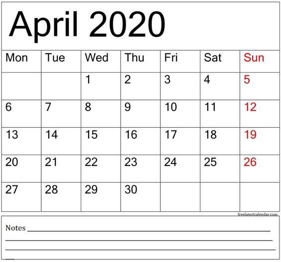 April 2020 Printable Calendar Weekly