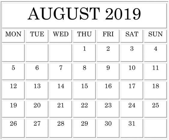 August 2019 Blank Calendar Landscape