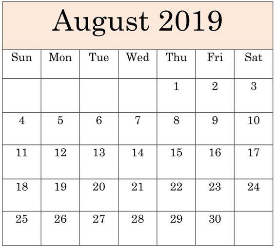 August 2019 Blank Calendar Printable