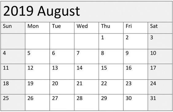 August 2019 Blank Calendar Vertical