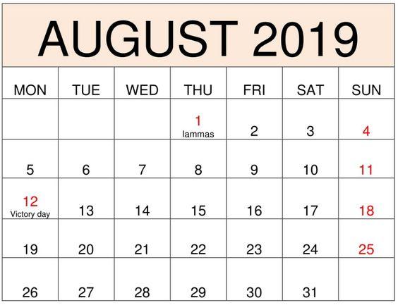 August 2019 Calendar Blank