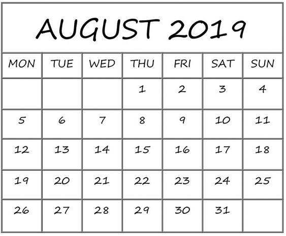 August 2019 Calendar Decorative