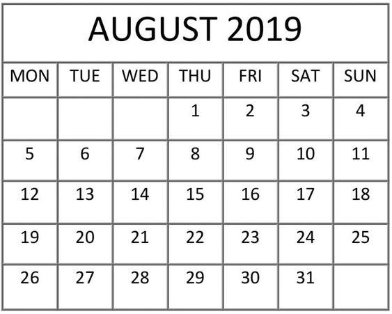 August 2019 Calendar Desk