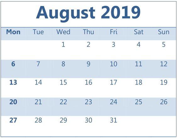 August 2019 Calendar Printable Weekly