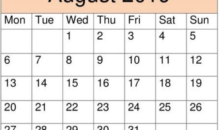 August 2019 Calendar Template Download