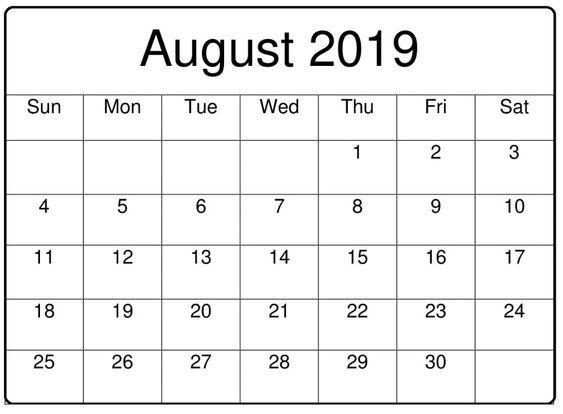 August 2019 Calendar Template Free