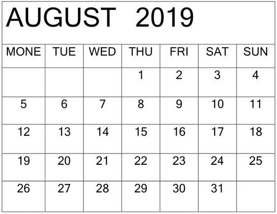 August 2019 Calendar Template PDF