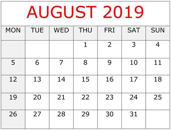 August 2019 Printable Calendar Excel