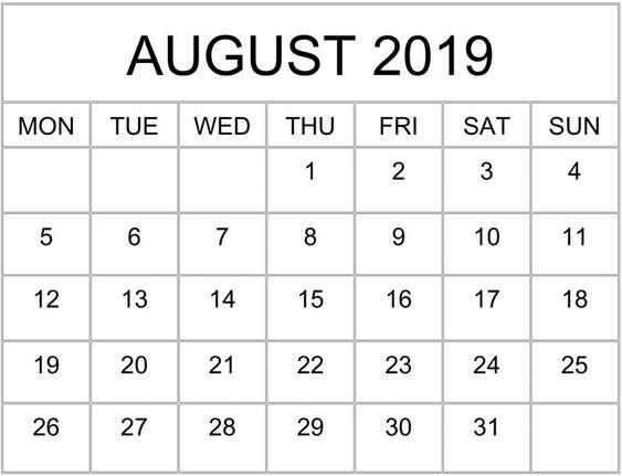 August 2019 Printable Calendar Template