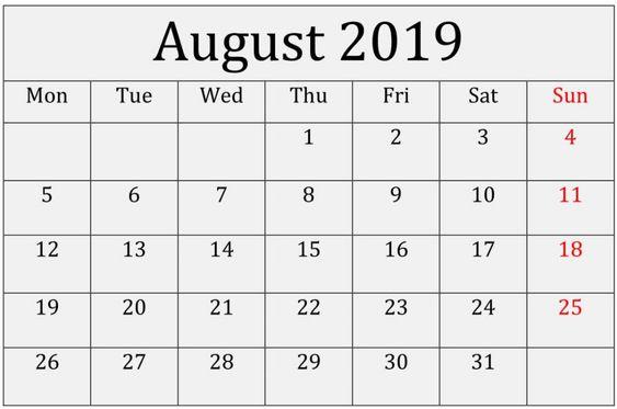 August Calendar 2019 Excel