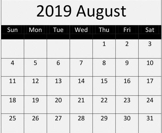 August Calendar 2019 Excel Template