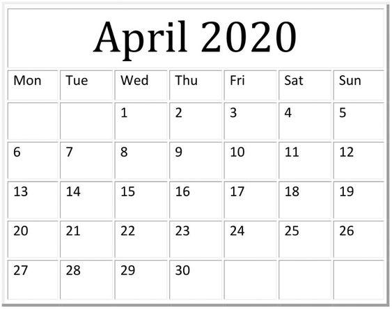 Blank April 2020 Calendar Desk