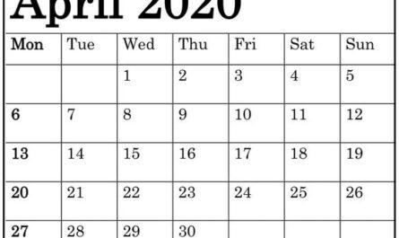 Blank April 2020 Calendar Free Download