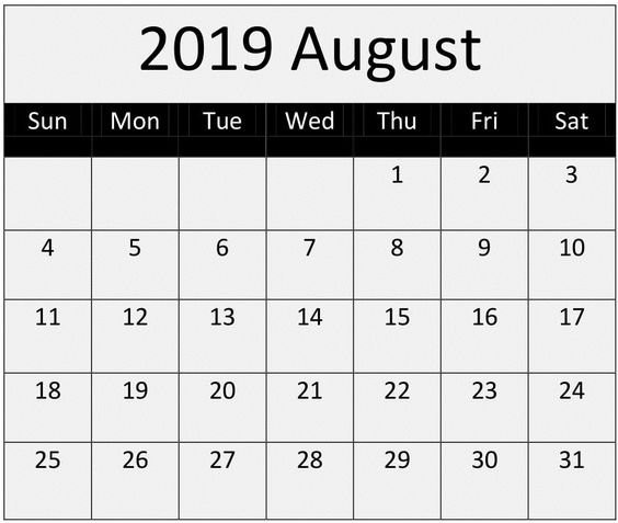 Blank August 2019 Calendar Print