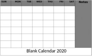Blank Calendar Editable