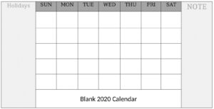 Blank Calendar Word, PDF, Excel