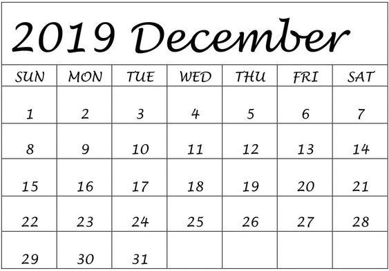 Blank December 2019 Calendar Downloadable