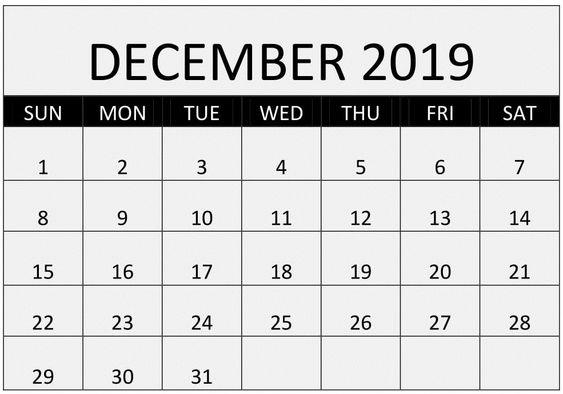 Blank December 2019 Calendar Editable