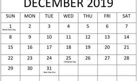 Blank December 2019 Calendar Print