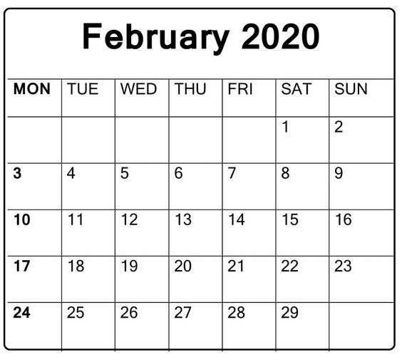 Blank February 2020 Calendar Desk