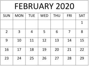 Blank February 2020 Calendar Floral