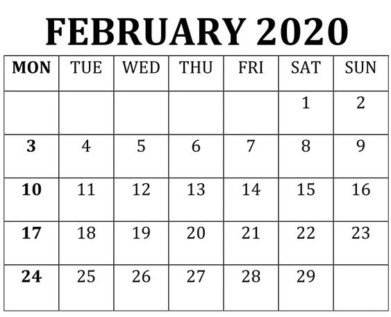 Blank February 2020 Calendar Word Template