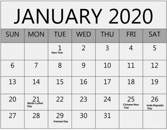 Blank January 2020 Calendar Editable