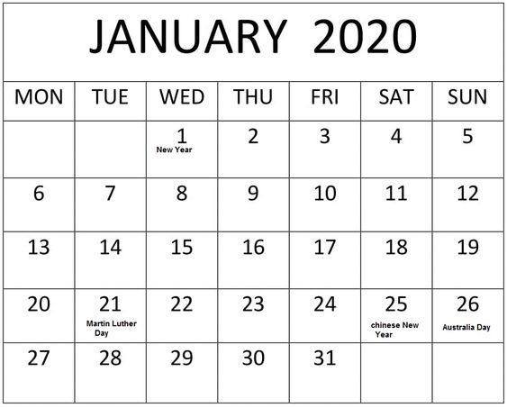 Blank January 2020 Calendar Print