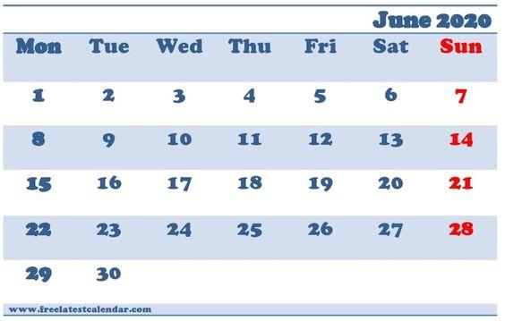 Blank June 2020 Calendar Colorful