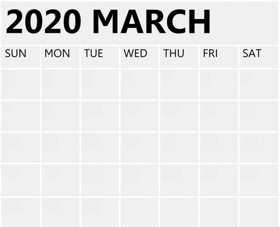 Blank March 2020 Calendar Floral