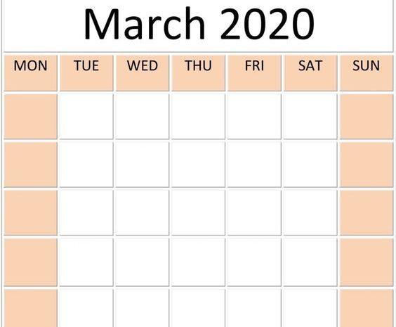 Blank March 2020 Calendar To Print