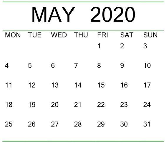 Blank May 2020 Calendar Floral