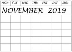 Blank November 2019 Calendar Monthly Planner