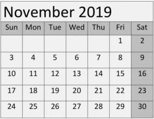 Blank November 2019 Calendar Planner