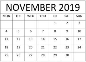 Blank November 2019 Calendar Word, PDF, Excel