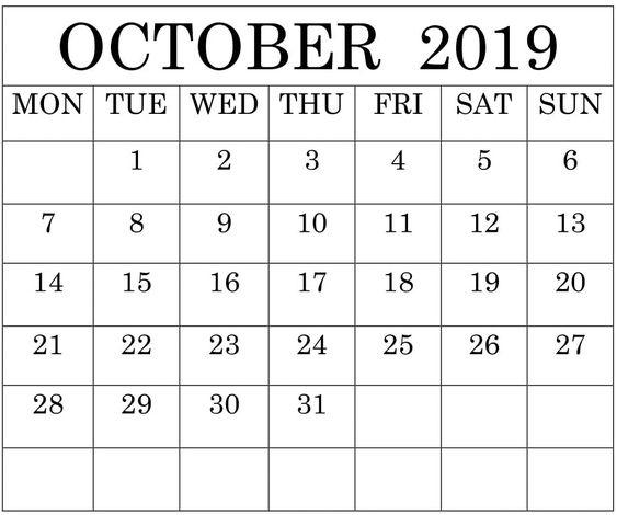 Blank October 2019 Calendar Monthly