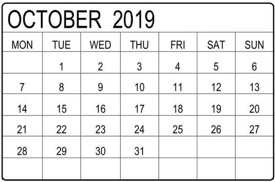 Blank October 2019 Calendar Template