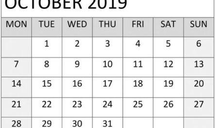 Blank October 2019 Calendar Weekly