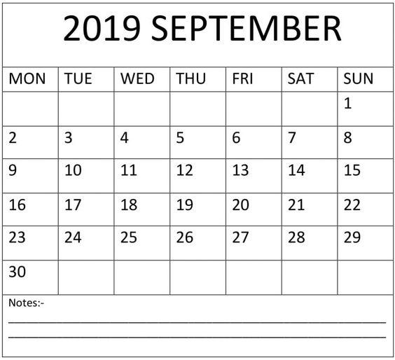 Blank September 2019 Calendar Excel
