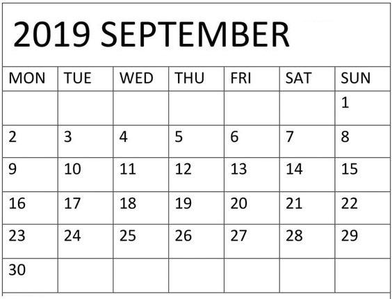 Blank September 2019 Calendar PDF