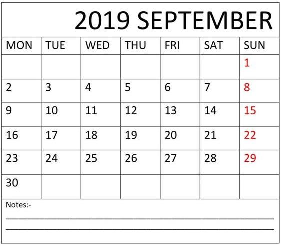 Blank September 2019 Calendar Planner